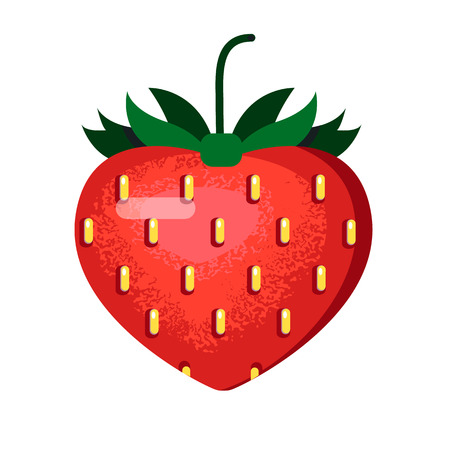 Ripe red strawberry in a flat style with textured shadows