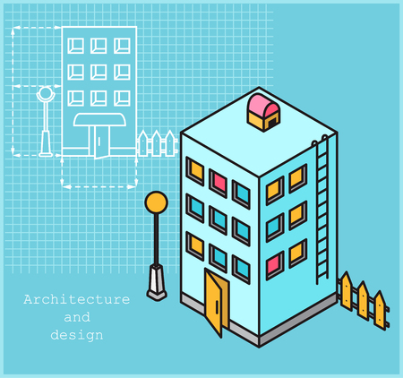 Project of multi-family house in linear style and model of apartment building in color and isometric style