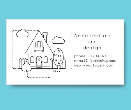 Business card template for construction company or architect. Business card in black and white style with building drawing Vettoriali