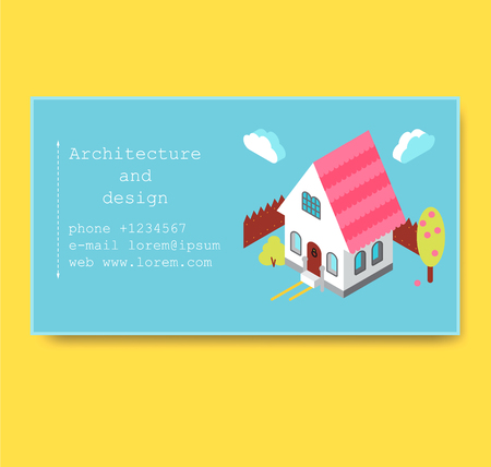 Business card with isometric house Vettoriali