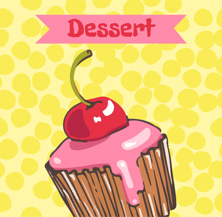 Cupcake with cherry and pink frosting on yellow background Vettoriali
