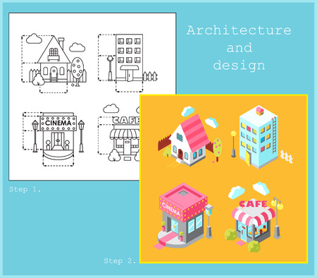 Drawing of buildings in flat linear style in black and white  colors and Set of building icons in isometric style in color Vettoriali
