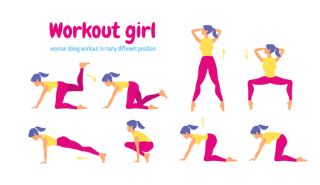 Young slim woman workout fitness and aerobic.