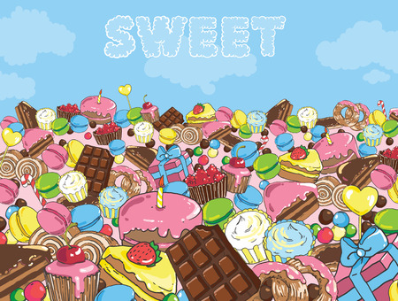 Sweets filled entire landscape to the horizon 版權商用圖片 - 89611678