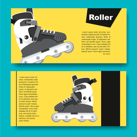 Black and white roller skates for aggressive riding style Vettoriali