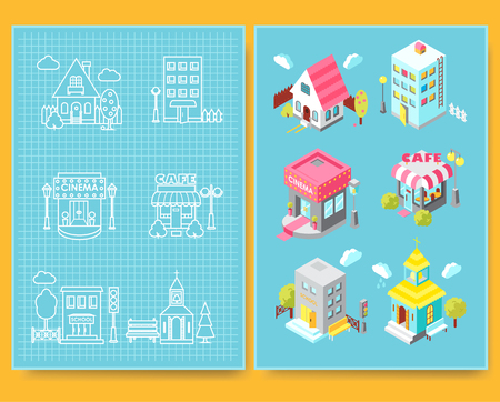 Set of isometric buildings with street elements and green spaces and Blueprint.