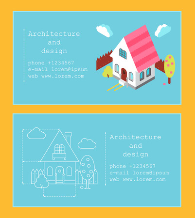 Business card template for construction company or architect. Business card with isometric house and building drawing
