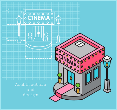 Cinema development construction design and planning concept. Drawing of the building in flat style and visualization of the building in isometric style Vettoriali