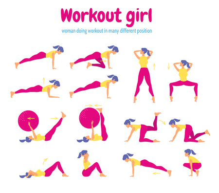 Set of female silhouettes in gym. Woman showing different gymnastic exercises 向量圖像