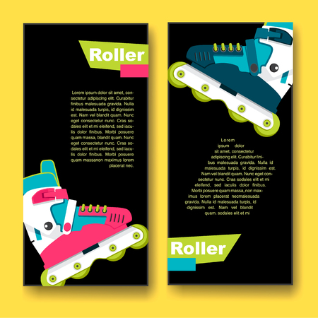 Bright roller skates for aggressive riding style. Flyers on the theme of roller-skating. Flyers for sports shop or Club of fans of roller skates