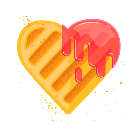 Heart shape cookie with jam sticks.