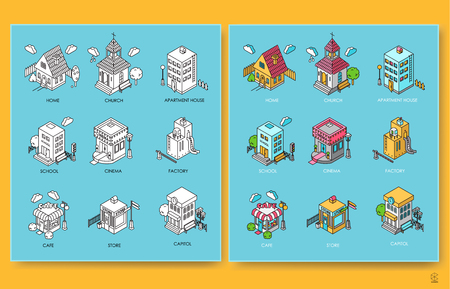 Set of isometric buildings with trees, fence, lanterns and cloud 向量圖像