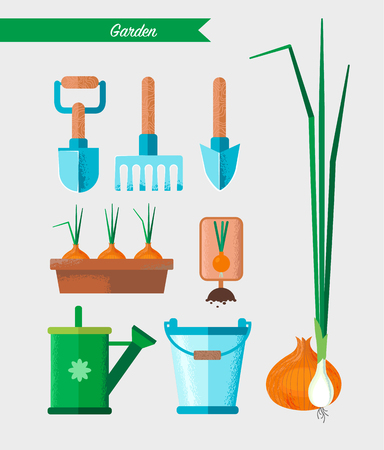 Gardening work tools set. Equipment for working in garden shovel, rake, bucket, watering can, flower pot, seedlings, onion etc