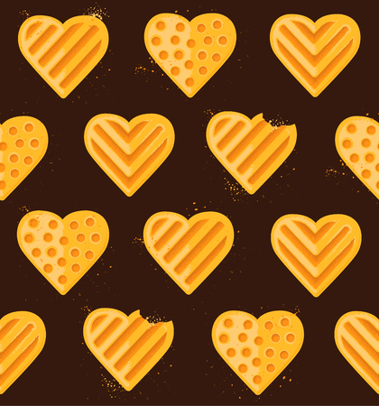 Seamless pattern of heart-shaped cookies