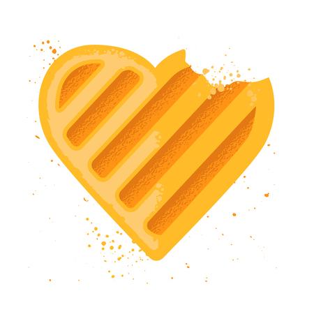 Heart shape cookie. Bitten cookie. Vector icon Illustration