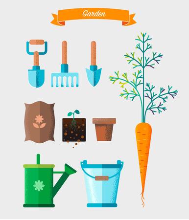 Gardening work tools set. Equipment for working in garden Vettoriali
