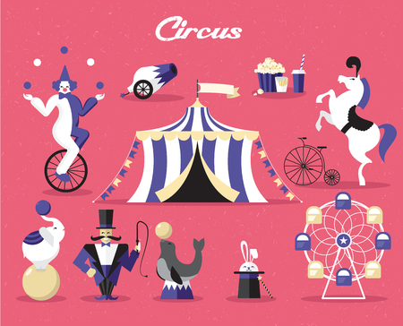 Circus elements set. Vector illustration on a circus theme. Vettoriali