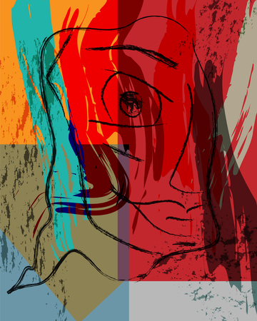Abstract background composition with paint strokes, face and geometric figures