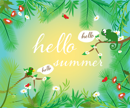 Frame Hello Summer. Bright color. Place for text.