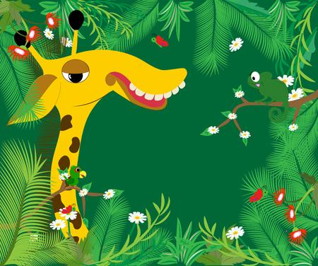 Frame with big giraffe. Vector illustration.