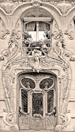 noteworthy: Typical Art Nouveau building in Paris, France (sepia)