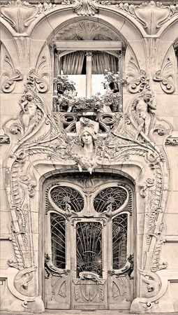 frontage: Typical Art Nouveau building in Paris, France (sepia)