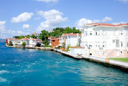 Mansions on the coast of the Bosporus Stock Photo