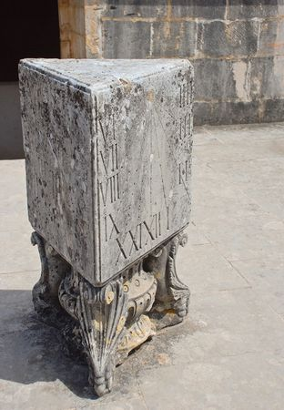 sun dial: Sun dial made in the stone. Alcobaca Monastery, Portugal.