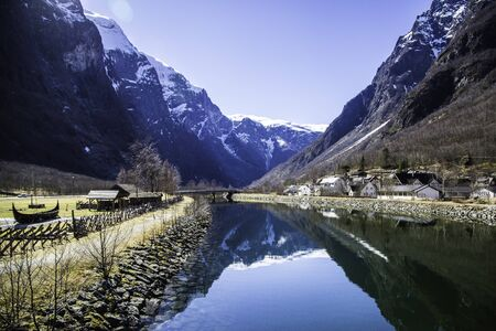 In Norway fjord and mountains reflection in the water