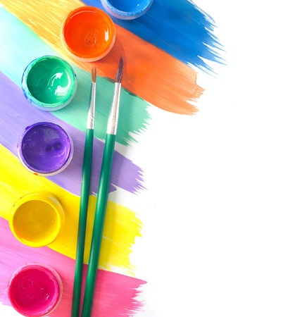 paintbox: Color paints and brushes isolation on white background