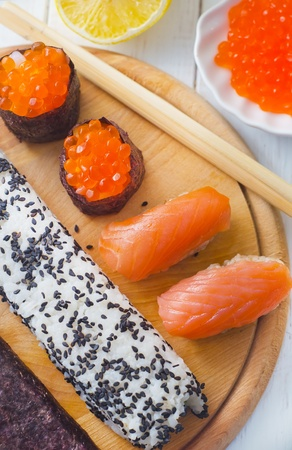 Fresh rolls and sushi with salmon photo