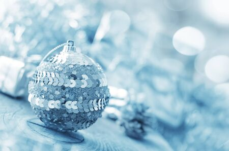 silver ball and other cristmas decoration. photo