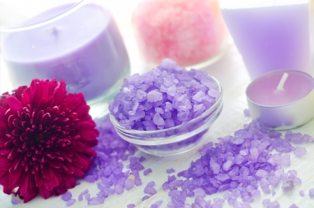 Violet sea salt for spa and candle Stock Photo - 16297231