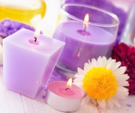 Sea salt and candle, color salt