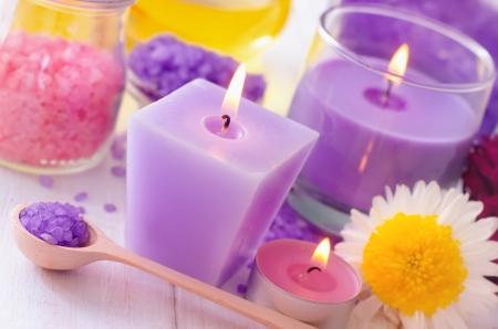 Sea salt and candle, color salt Stock Photo - 16297600