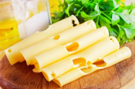 Cheese with the parsley, portion of the cheese Stock Photo