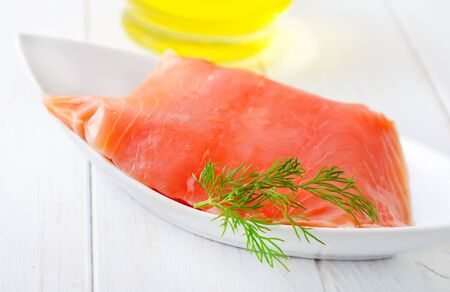 Fresh salmon in the white bowl Stock Photo - 16316455
