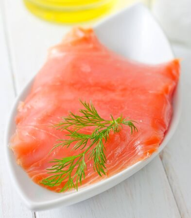Fresh salmon in the white bowl Stock Photo - 16316566