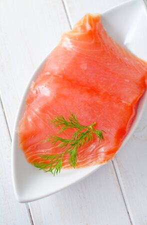 Fresh salmon in the white bowl Stock Photo - 16316595