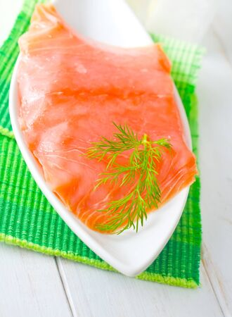 Fresh salmon in the white bowl Stock Photo - 16316880