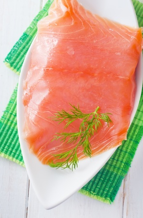 Fresh salmon in the white bowl Stock Photo - 16316825