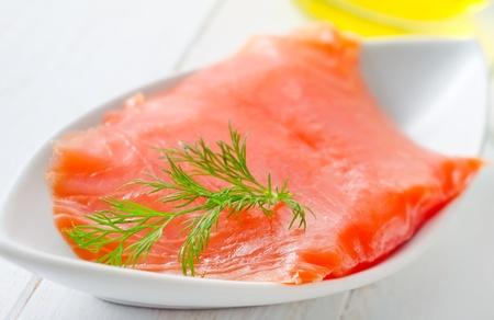 Fresh salmon in the white table Stock Photo - 16316408
