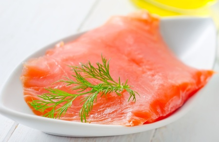 Fresh salmon in the white table Stock Photo - 16316408