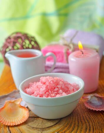 Pink sea salt and aroma oil for SPA photo