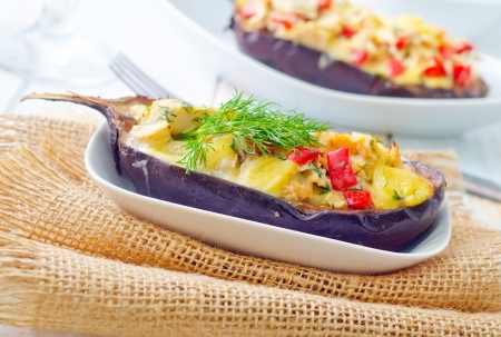 stuffed eggplants on the white plate Stock Photo - 16395481