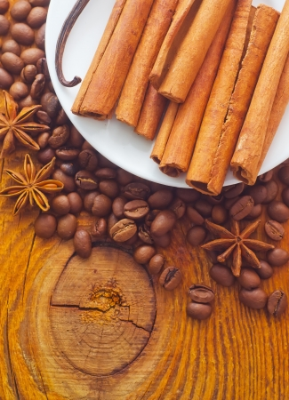 cinnamon and coffee on the white plate Stock Photo - 16395691