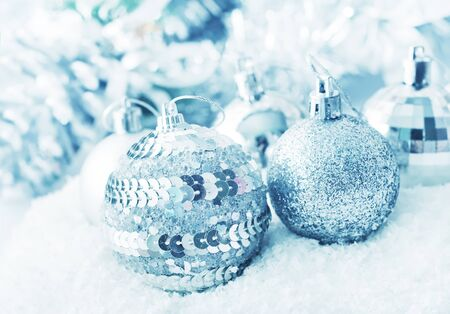 Christmas balls, Silver balls, Christmas decoration on the light background photo