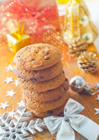 Cookies for christmas on the wooden board photo