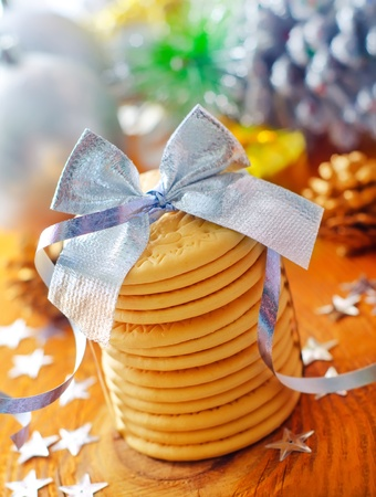 cookies and christmas decoration photo