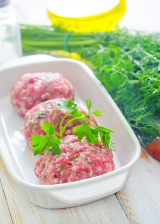 Raw meat balls in the white bowl Stock Photo - 16510705